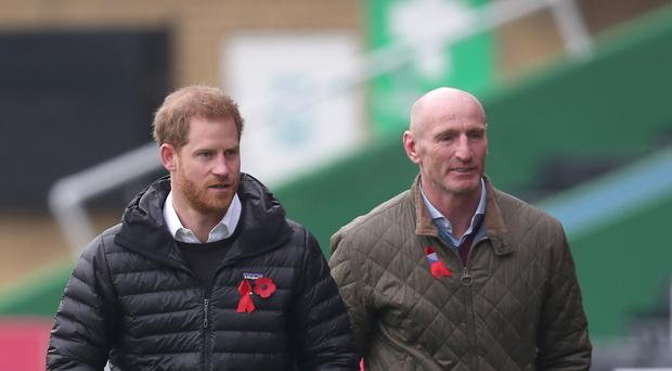 The Duke of Sussex (left) attends a Terrence Higgins Trust event with former Wales rugby captain Gareth Thomas (right) at the Stoop, Twickenham, ahead of National HIV Testing Week (Steve Parsons/PA)