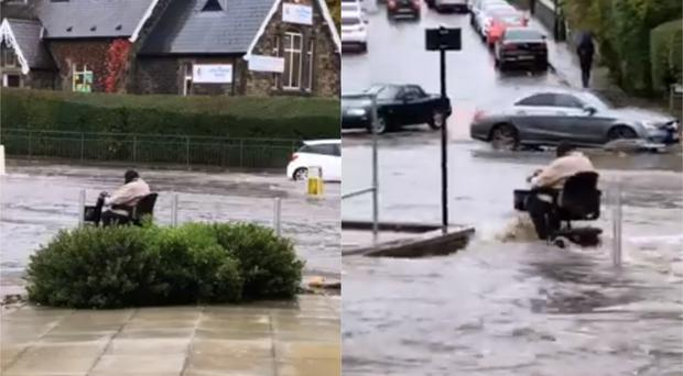 The scooter user braves the water (Stephanie Jubb/Facebook)