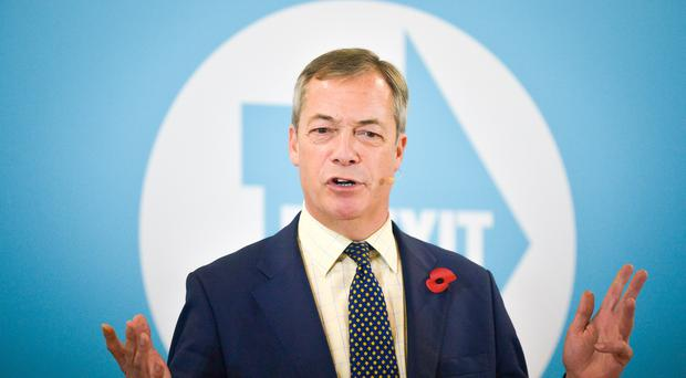 Brexit Party leader Nigel Farage speaking at a campaign rally in Pontypool, Wales (Ben Birchall/PA)