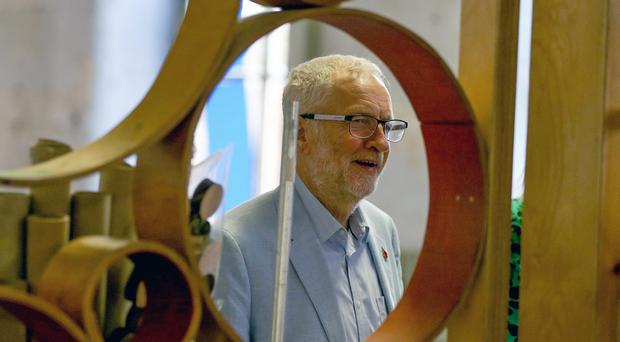 Labour leader Jeremy Corbyn during a visit to the Scrap Creative Reuse Arts Project in Farsley (Nigel Roddis/PA)