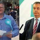 Neil Greaves (left) and Nigel Farage (Neil Greaves/Owen Humphreys/PA)