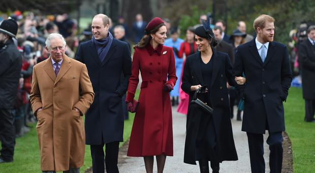 The Prince of Wales, the Duke of Cambridge, the Duchess of Cambridge, the Duchess of Sussex and the Duke of Sussex on their way to the Christmas Day morning church service (Joe Giddens/PA)
