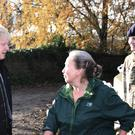Prime Minister Boris Johnson talks with a local woman accusing of Boris Johnson of not helping (