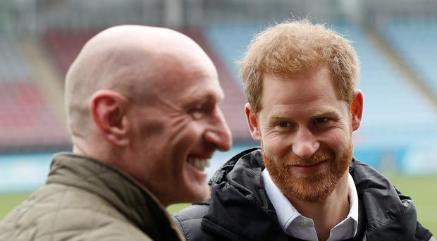The Duke of Sussex with former Wales rugby captain Gareth Thomas (Peter Nicholls/PA)