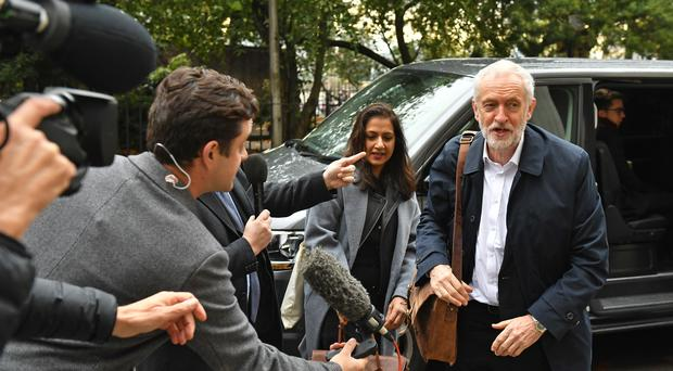 Jeremy Corbyn arrives for a meeting on the Labour manifesto (Dominic Lipinski/PA)