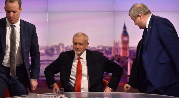 Foreign Secretary Dominic Raab, Labour leader Jeremy Corbyn and SNP Westminster Leader Ian Blackford on TV on Sunday morning (Jeff Overs/BBC)