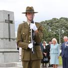 The Prince of Wales and the Duchess of Cornwall attend a wreath laying ceremony at Mount Roskill War Memorial (Chris Jackson/PA)