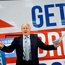 Prime Minister Boris Johnson at the unveiling of the Conservative Party battlebus (PA)
