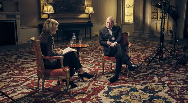 The Duke of York speaking about his links to Jeffrey Epstein in an interview with BBC Newsnight's Emily Maitlis (Mark Harrison/BBC/PA)