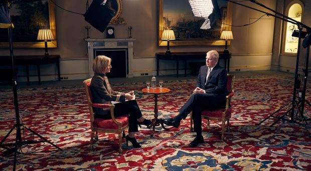 The Duke of York speaking about his links to Jeffrey Epstein in an interview with BBC Newsnight's Emily Maitlis (Mark Harrison/BBC)
