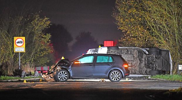 A minibus and a car were involved in the collision near the village of Bluntisham, Cambridgeshire (Joe Giddens/PA)