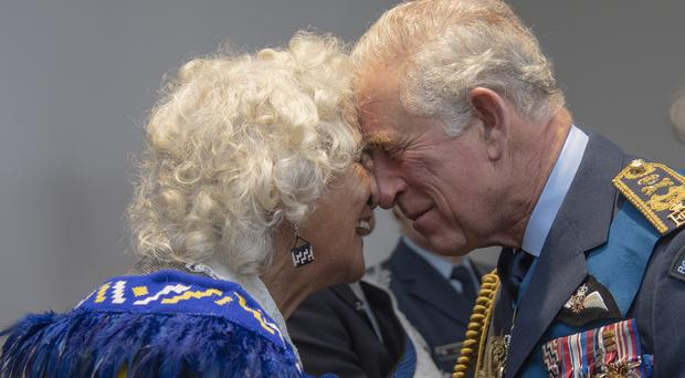 The Prince of Wales receives a hongi from Kula Axa Hudson at a reception after he attended the Queen's Colour Ceremony at the Whenuapai Airbase in New Zealand (Arthur Edwards/The Sun/PA)
