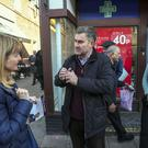 Independent candidate David Gauke is joined by Amber Rudd, right, in Rickmansworth (Steve Parsons/PA)