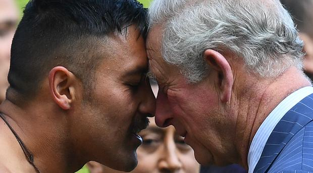 The Prince of Wales is given a traditional welcome by Maori elder Kaumatua (Victoria Jones/PA)