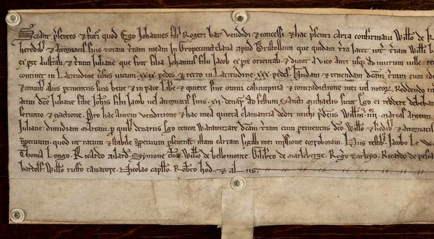 The deed is written in ancient script (Handout/Dominic Winter Auctioneers/PA)