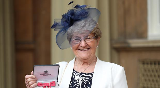 Foster carer Christine Lunn MBE following an investiture ceremony at Buckingham Palace in London (Yui Mok/PA)
