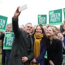 Green Party co-leader Jonathan Bartley, deputy leader Amelia Womack and co-leader Sian Berry at the Observatory (Isabel Infantes/PA)