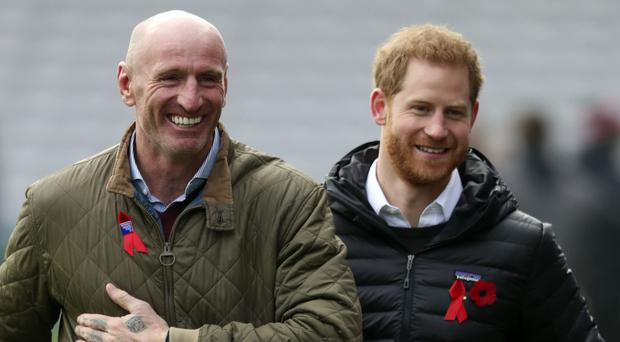Gareth Thomas with the Duke of Sussex at a Terrence Higgins Trust event (Steve Parsons/PA)