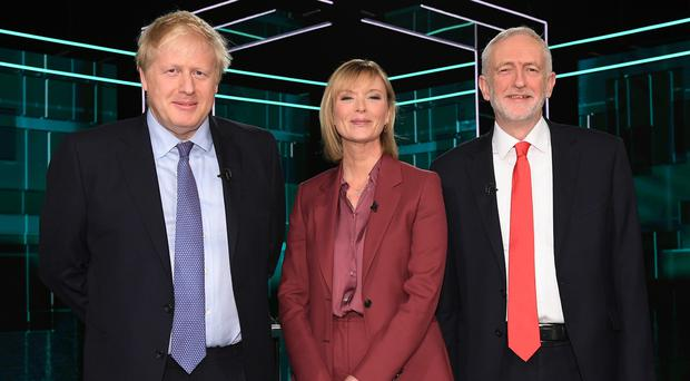 Boris Johnson and Jeremy Corbyn with ITV presenter Julie Etchingham (ITV/PA)