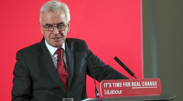 Shadow chancellor John McDonnell delivers a speech on the economy, at Church House (Steve Parsons/PA)