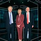Boris Johnson, Julie Etchingham and Jeremy Corbyn in the studio prior to the head-to-head debate (ITV/PA)