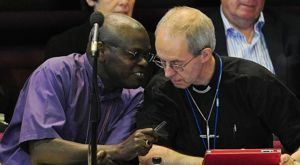 The Archbishop of York Dr John Sentamu and the Archbishop of Canterbury the Most Rev Justin Welby have issued an appeal to voters to engage respectfully (Anna Gowthorpe/PA)