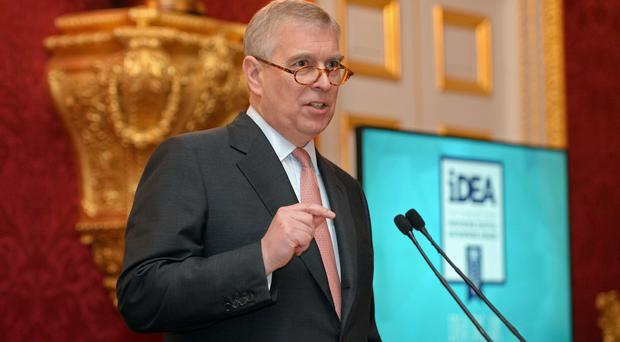 The Duke of York during the presentation of the first bronze awards for the Inspiring Digital Enterprise Award in 2017 (Victoria Jones/PA)