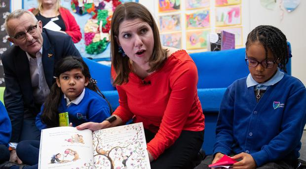 Liberal Democrats leader Jo Swinson during a visit to Trumpington Park Primary School, in Cambridge (Aaron Chown/PA)