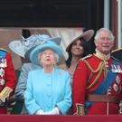 The Duke of York, the Queen and the Prince of Wales on the Buckingham Palace balcony (Yui Mok/PA)