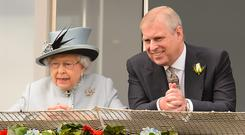 The Queen and the Duke of York at Epsom (Dominic Lipinski/PA)