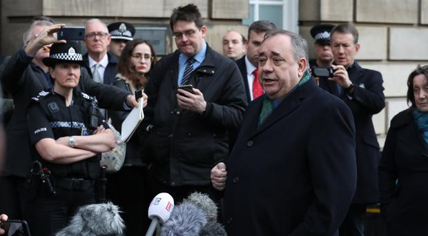 Alex Salmond addressed journalists briefly after appearing at the High Court in Edinburgh (Andrew Milligan/PA)