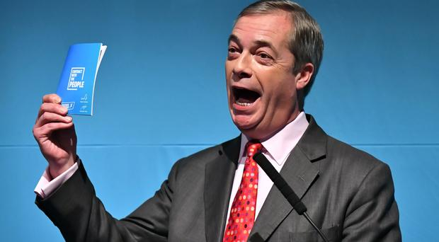 Brexit Party leader Nigel Farage during the party's policy launch in Westminster, London (Dominic Lipinski/PA)