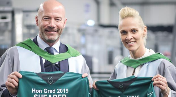 Alan Shearer and Shelley Kerr at the University of Stirling (Greg Christison/PA)