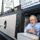 Labour Party leader Jeremy Corbyn during a visit to The Oatcake Boat owned by Kay Mundy, in Stoke-on-Trent (Joe Giddens/PA)