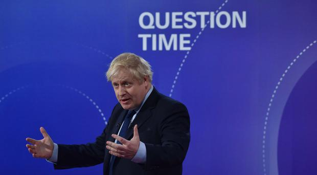 Prime Minister Boris Johnson during the BBC Question Time Leaders' Special (Jeff Overs/BBC)