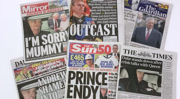 The front pages of national newspapers the day after the Duke of York suspended his work with his charities, organisations and military units because of the fallout from his friendship with sex offender Jeffrey Epstein.