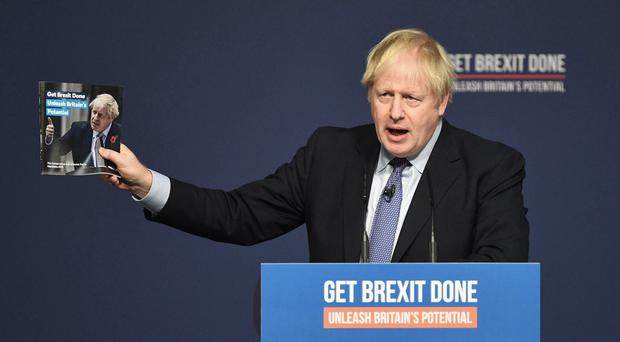 Prime Minister Boris Johnson at the launch of his party's General Election manifesto in Telford (Stefan Rousseau/PA)