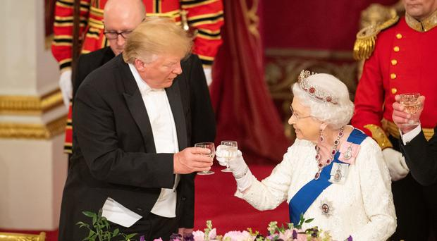 Donald Trump and Queen the Queen during the State Banquet at Buckingham Palace