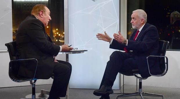 Jeremy Corbyn during an interview with Andrew Neil (Jeff Overs/BBC/PA)