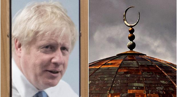 Boris Johnson and a stock image of a mosque (Stefan Rousseau/Anthony Devlin/PA)