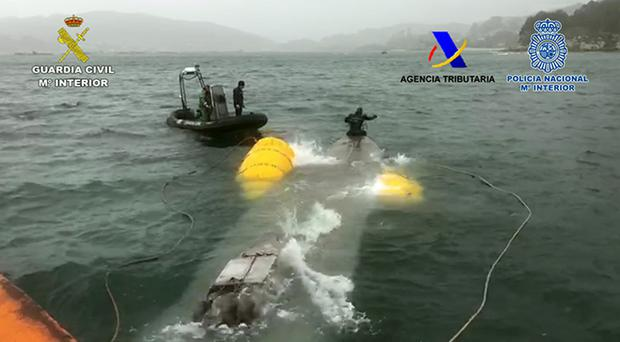 The semi-submersible vessel was stopped off the coast of Spain on Saturday (Spanish Guardia Civil/NCA/PA )