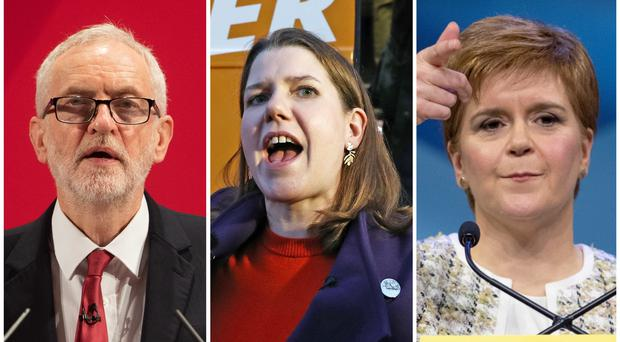 Jeremy Corbyn, Jo Swinson and Nicola Sturgeon are among those taking part (PA)