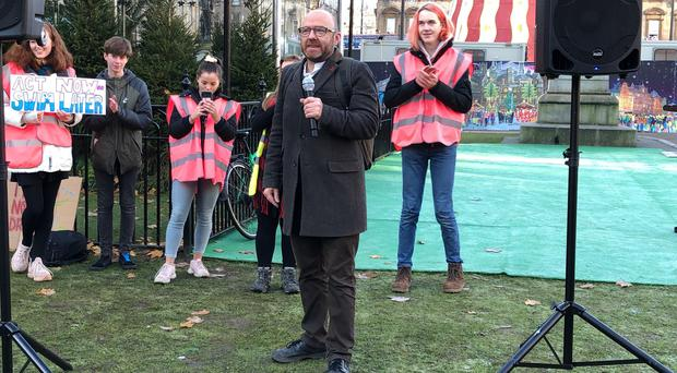 Patrick Harvie spoke at the climate strike in Glasgow on Friday (Lewis McKenzie/PA)
