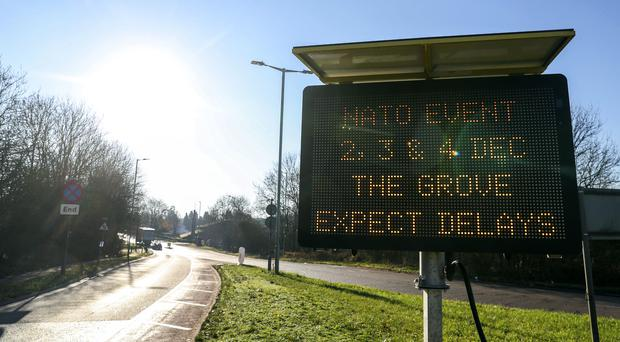 A sign warning drivers of delays near The Grove Hotel in Hertfordshire, ahead of the Nato meeting (Steve Parsons/PA)
