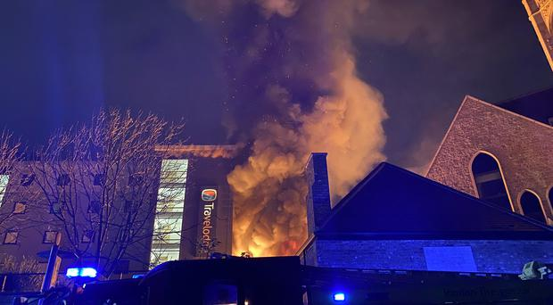 The fire hit all five floors of the hotel (Mike Thomas/PA)