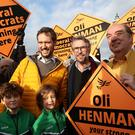 Actor Steve Coogan canvassing in Lewes with Liberal Democrat candidate Oliver Henman (Gareth Fuller/PA)