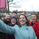 Liberal Democrat leader Jo Swinson with activists during a visit to Sheffield (Danny Lawson/PA)