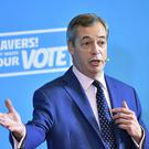 Brexit Party leader Nigel Farage speaking at a press conference (Dominic Lipinski/PA)
