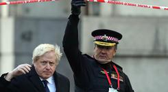 Prime Minister Boris Johnson (left) and Commissioner of the City of London Police, Ian Dyson at the scene of the terror attack (Steve Parsons/PA)