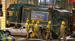 The bin lorry crashed into shoppers in Glasgow city centre, leaving six people dead and 15 injured (Andrew Milligan/PA)